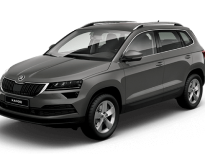 the front left view of a grey skoda karoq car