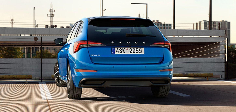 Blue colored Skoda Scala Car Rear View