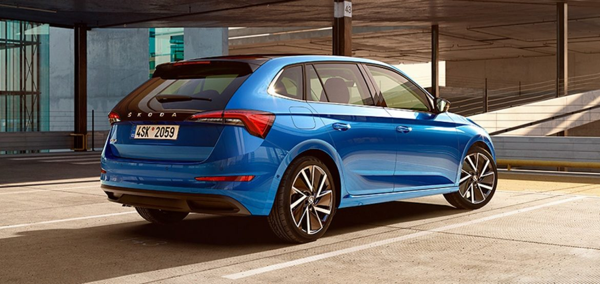 Blue colored Skoda Scala Car Side Rear View