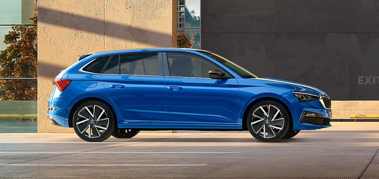 Blue colored Skoda Scala Car Side View