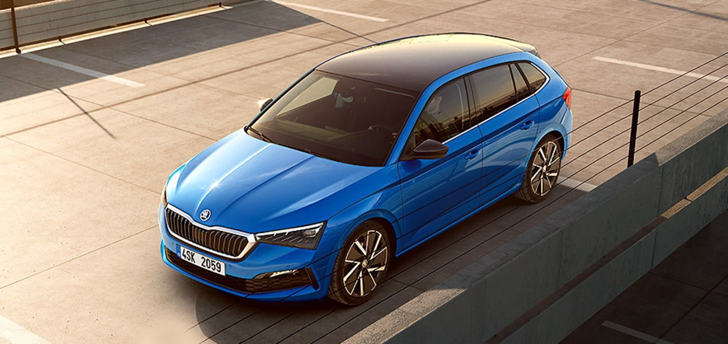 Blue colored Skoda Scala Car Top Front View